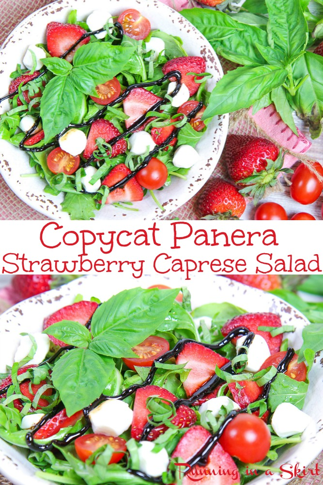 Copycat Panera Strawberry Caprese Salad recipe - only 6 Ingredients! Topped with fresh mozzarella, tomatoes, basil and balsamic vinegar. The best easy, healthy vegetarian salad. / Running in a Skirt #panerabread #healthy #vegetarian #strawberry #caprese #summerrecipes via @juliewunder