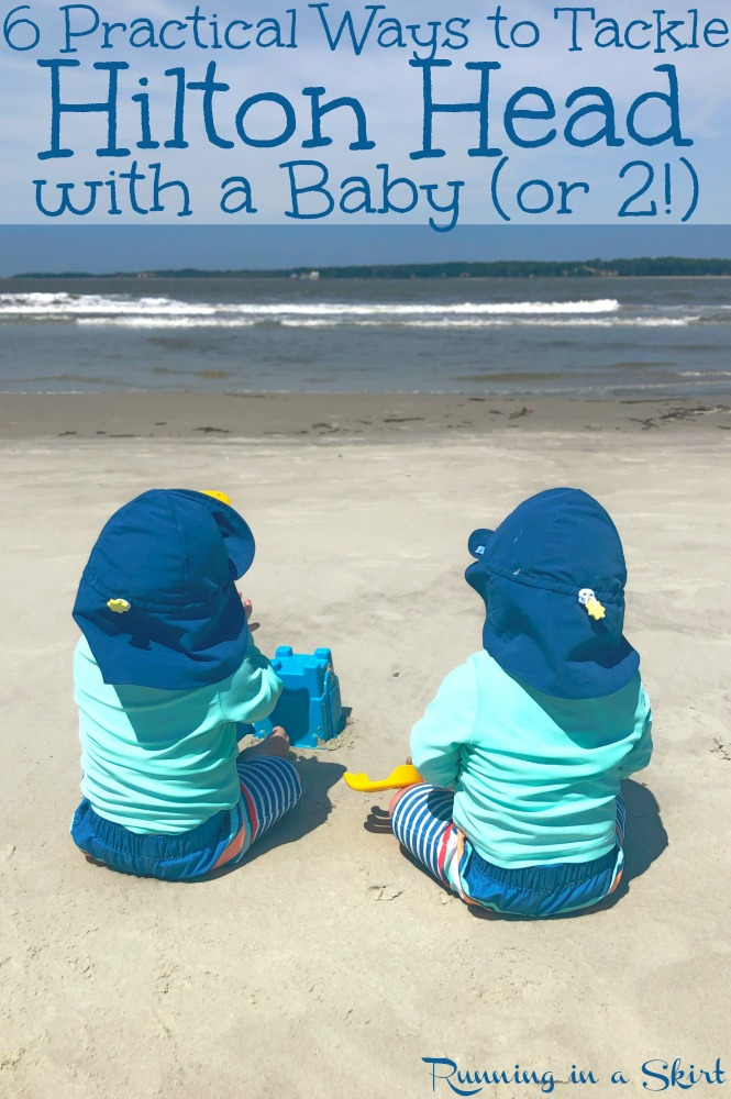 6 Practical Tips to Tackle Hilton Head Island South Carolina with a baby or kids. Includes beach vacation ideas to make going to the beach easier and fun things to do when you get to the island for family vacations. Plus the best restaurants / takeout AND how to rent baby items on the island. / Running in a Skirt #hiltonhead #sc #travel #baby #twins #babytravel #familytravel via @juliewunder