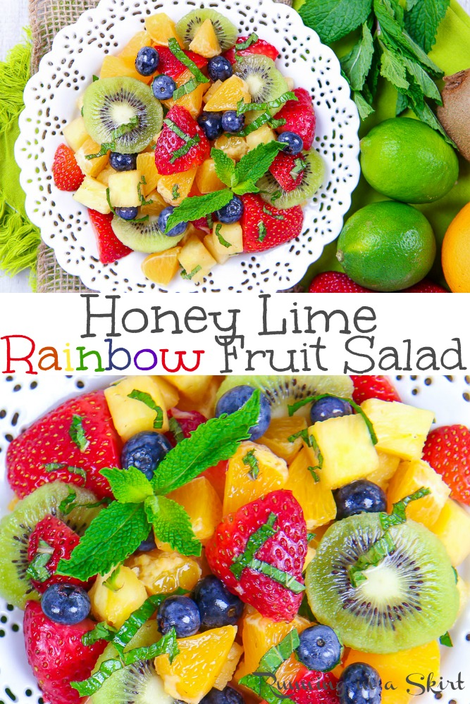 This Rainbow Fruit Salad with Honey and Lime dressing is the perfect fun summer recipe. An easy, healthy and simple fresh dish topped with mint. Includes strawberry, blueberry, pineapple, orange, and kiwi! / Running in a Skirt via @juliewunder