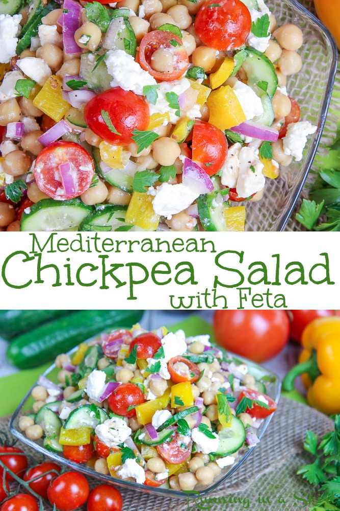 Mediterranean Chickpea Salad recipe with feta - clean eating, healthy, gluten free and low carb. Packed with veggies like peppers, cucumber, tomato. Easy vegetarian recipe. / Running in a Skirt #recipe #healthy #vegetarian #lowcarb #glutenfree #chickpeas via @juliewunder