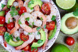 Shrimp, Avocado, tomato and cilantro