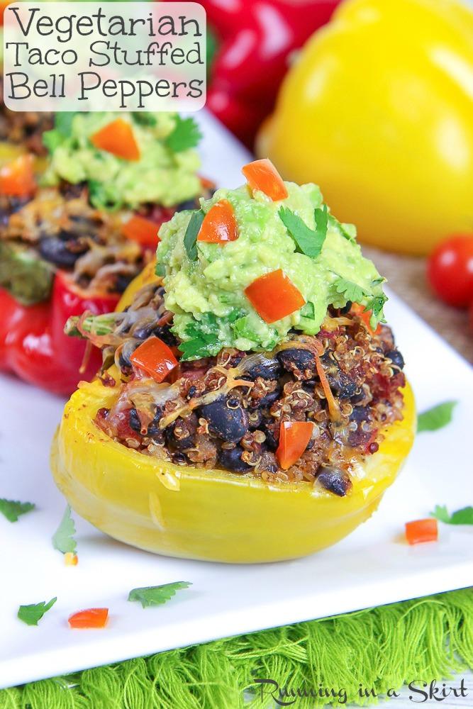 Vegetarian Mexican Stuffed Pepper recipe Pinterest pin.