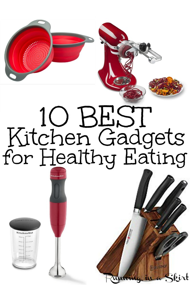 The 10 Must Have Kitchen Gadgets for Healthy Eating -the BEST picks and useful tools and gizmos for cooking good food at home. Includes the essential Amazon list, ideas and products. / Running in a Skirt #healthyliving #cooking #kitchen #healthy #amazon via @juliewunder