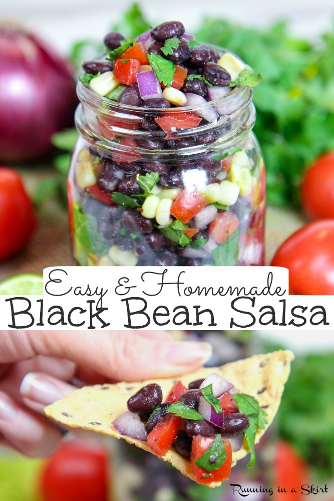 Easy & Healthy Black Bean Salsa recipe - homemade with corn and canned beans! The BEST recipe that's Mexican style salad with fresh veggies. Vegan, vegetarian & gluten free. / #mexican #vegan #healthy #salsa #recipe #healthyliving #vegetarian via @juliewunder