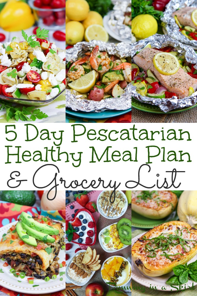 5 Day Pescatarian Meal Plan including Shopping Lists. A weekly meal plan for healthy and easy plant based breakfast, lunch and dinner recipes to make including a grocery list. Good mix of seafood /fish and vegetarian recipes. / Running in a Skirt #pescatarian #healthyliving #flexitarian #plantbased #mealplanning #mealplan #grocerylist via @juliewunder