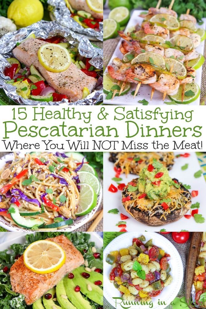 15 Easy & Healthy Pescatarian Meals. These quick dinner recipes are perfect for beginners or anyone wanting a simple dinner on the table in less than 30 minutes. Lots of clean eating, plant based ideas and also shrimp and salmon recipes. / Running in a Skirt #pescatarian #healthy #healthyliving #vegetarian #plantbased #flexitarian #salmon #fish #shrimp via @juliewunder