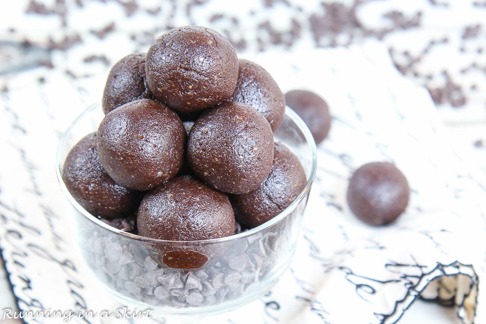No Bake Brownie Bites Recipe on a black and white napkin.