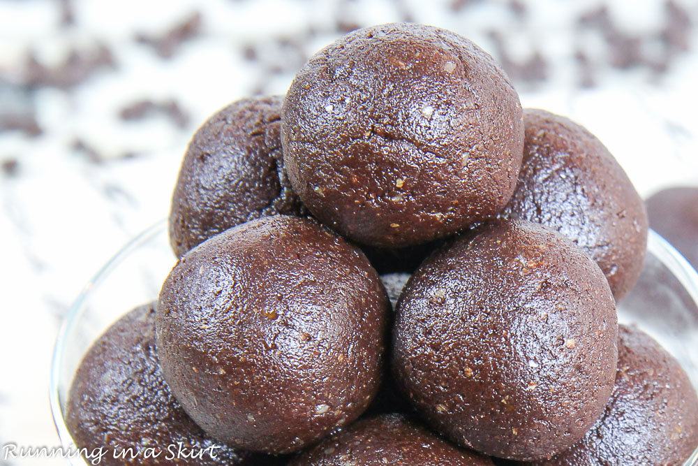 Closeup of No Bake Brownie Bites Recipe.