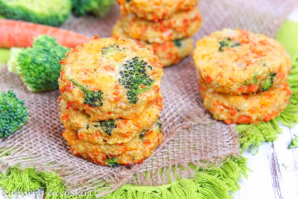 Cheesy Broccoli Quinoa Patties recipe on a napkin.