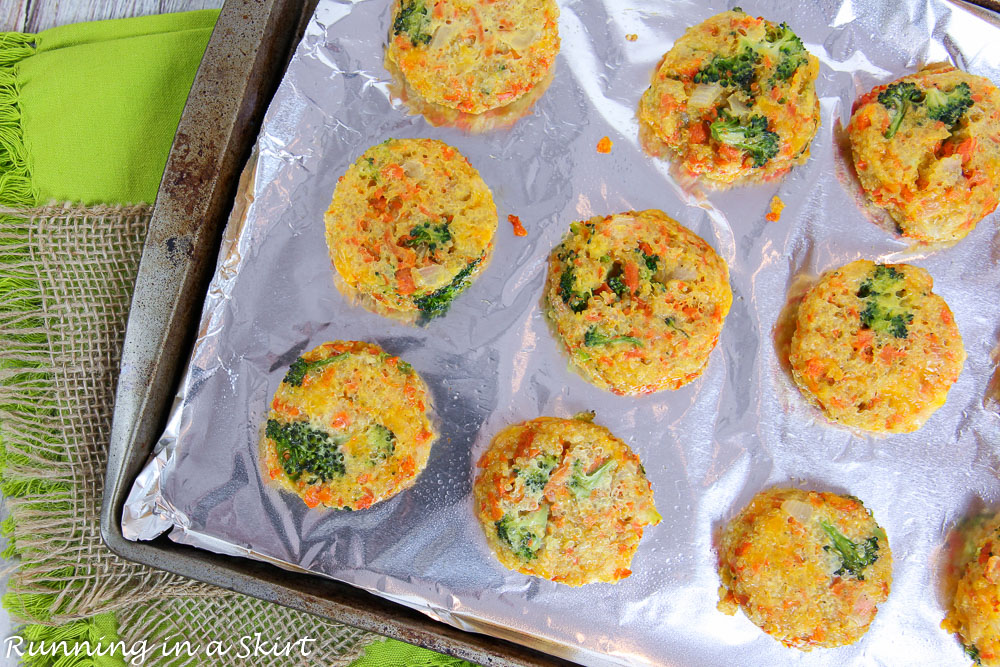 After shot of quinoa patties on a tray.