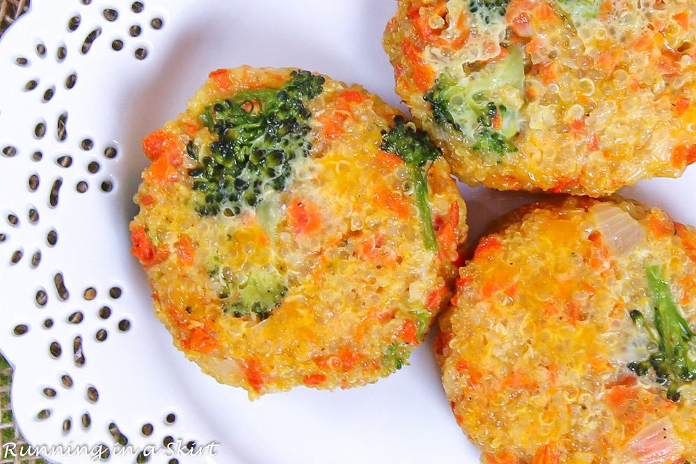 Cheesy Broccoli Quinoa Patties recipe closeup on a white plate.