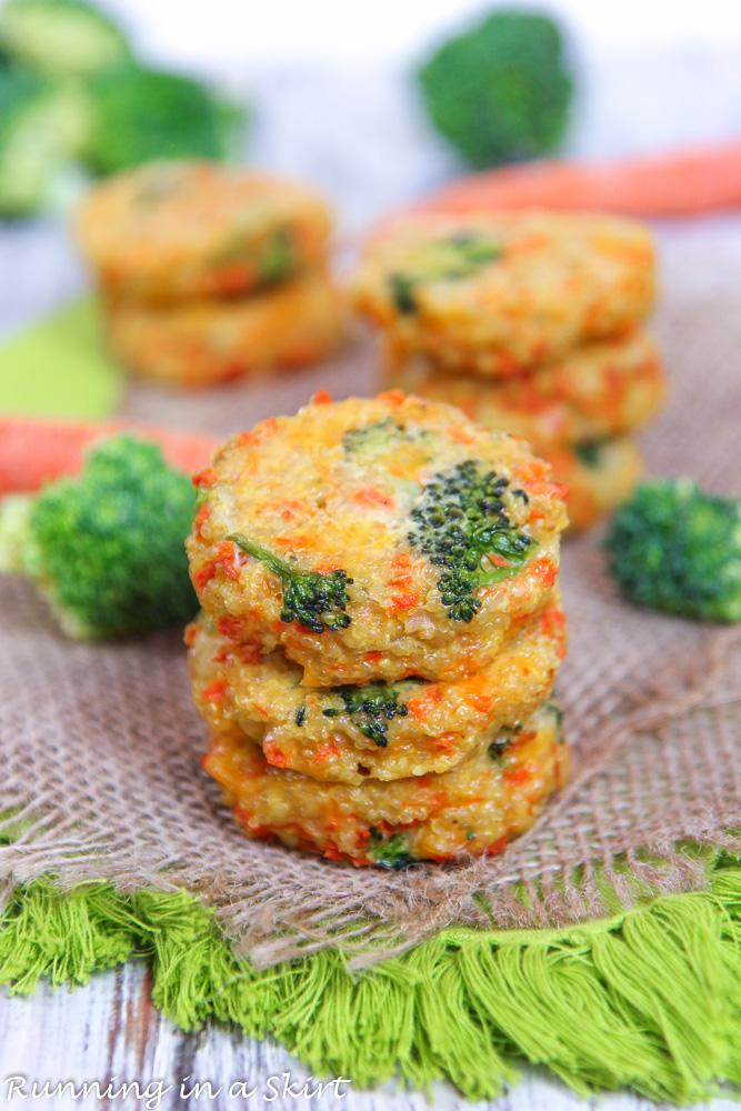 quinoa, cheese and broccoli on a napkin.