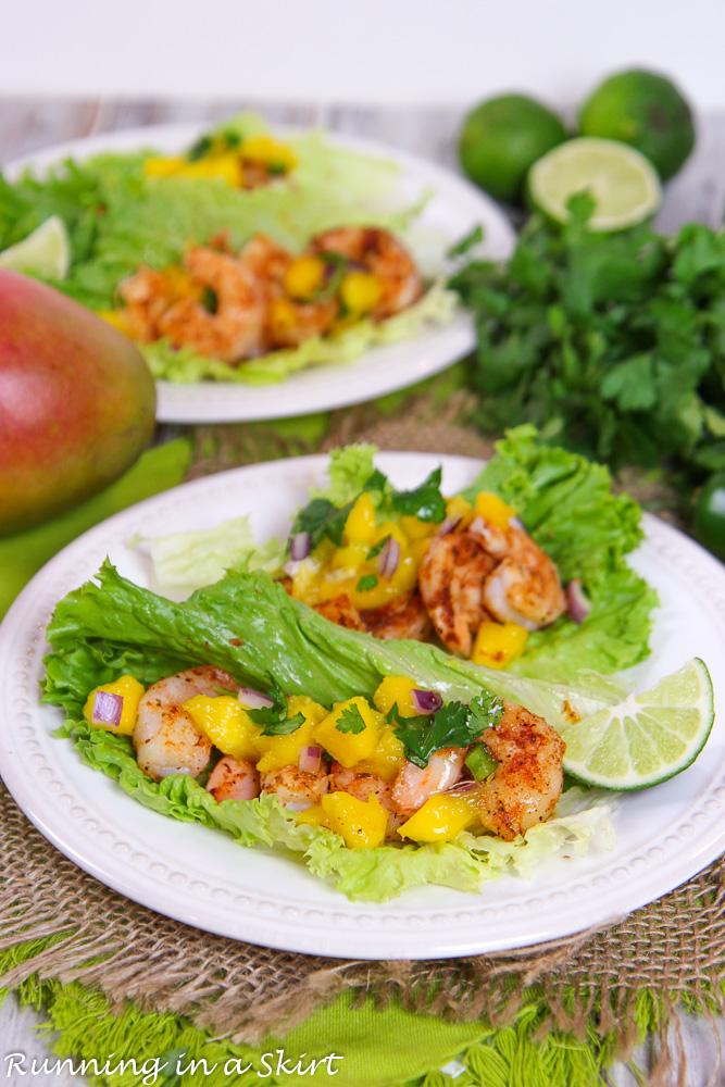 Two plates of Lettuce Wrap Shrimp Tacos recipe.