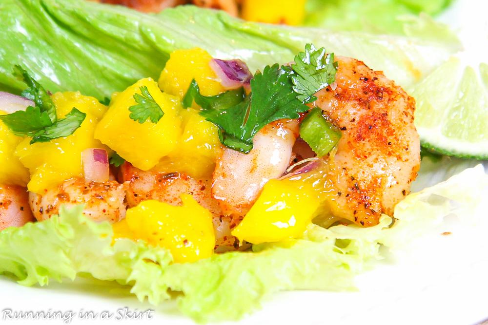 Close shot of shrimp and mango salsa.