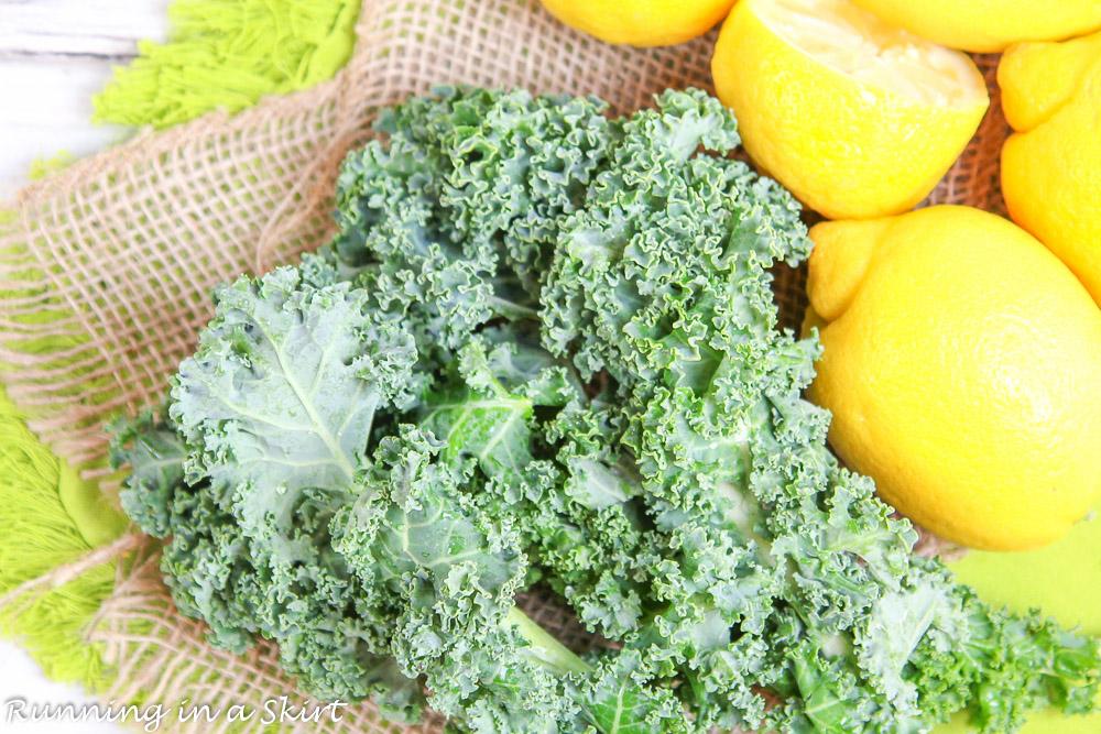 raw kale and lemon