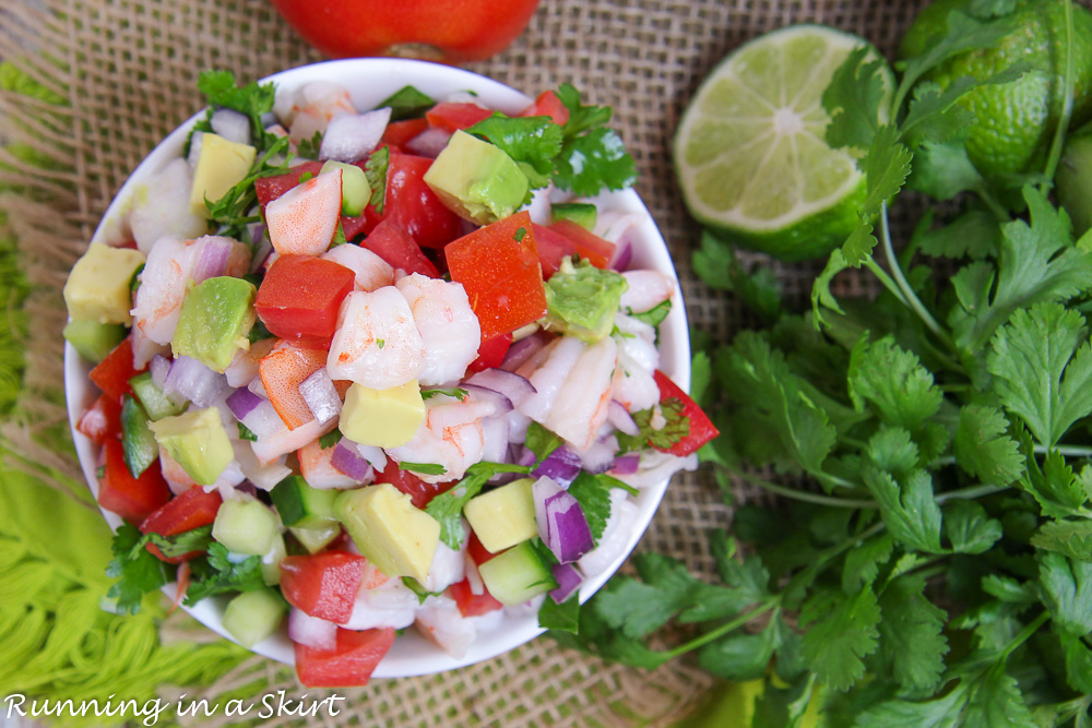 Overhead shot of shrimp salsa recipe.