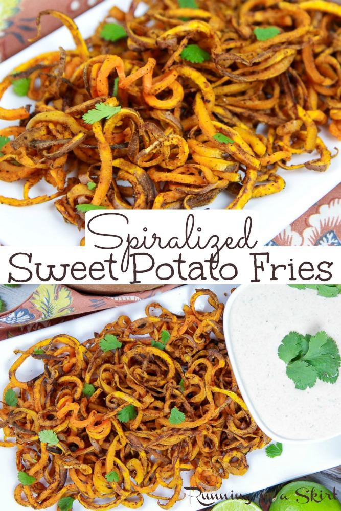 Healthy Baked Spiralized Sweet Potato Fries recipe - these crispy, easy and homemade fries are simple and delicious! Includes a Greek Yogurt Chipotle Lime Ranch Sauce / dip. Gluten free. The fries without the sauce are vegan, paleo and Whole 30. / Running in a Skirt via @juliewunder