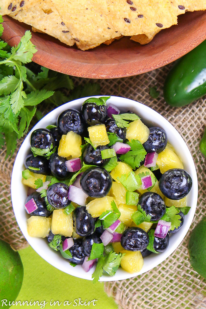 Overhead shot of Easy Blueberry Salsa recipe with pineapple.
