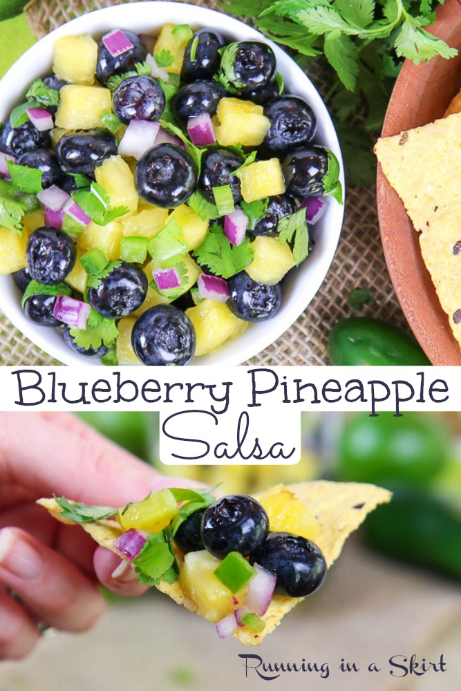 Blueberry Salsa recipe - The Best Fruit Salsa Dip with pineapple! Fresh, homemade, easy and refreshing with cilantro, lime and optional spicy jalapeno. The perfect healthy summer recipe topping for fish, seafood, shrimp or salmon. / Running in a Skirt #recipe #salsa #fruitsalsa #blueberry #pineapple via @juliewunder