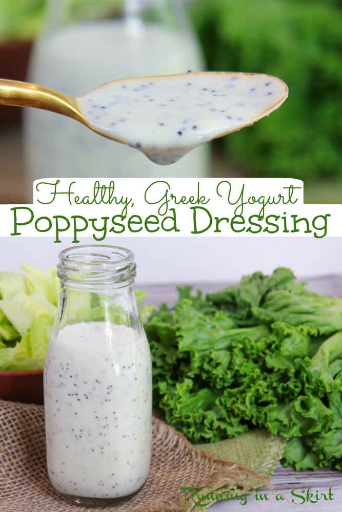 Healthy Greek Yogurt Poppyseed Dressing recipe - DIY Copycat Panera recipe. Only FIVE Ingredient. This homemade creamy salad dressing is perfect with a strawberry salad. Sugar free and sweetened with honey and not white sugar. / Running in a Skirt #saladdressing #recipe #healthy #poppyseed #panera #greekyogurt via @juliewunder