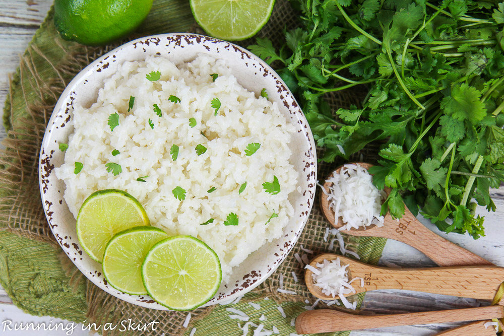 Rice with lime, cilantro and coconut.