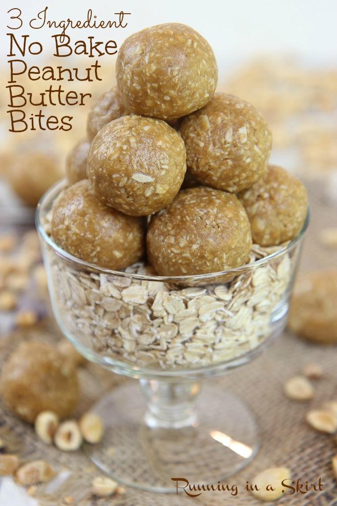 3 Ingredient Peanut Butter Oatmeal Balls pinterest pin.