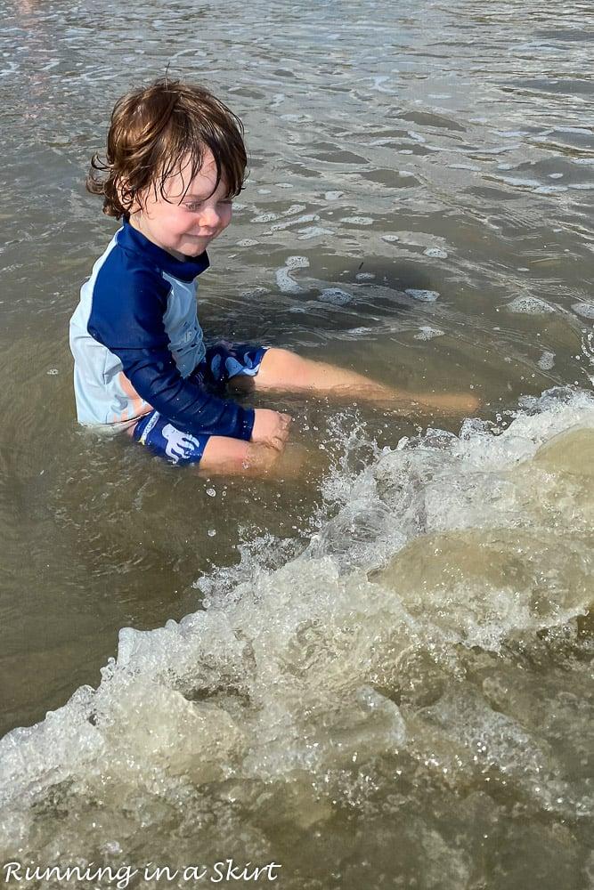 Toddler playing in beach Kiawah Island SC