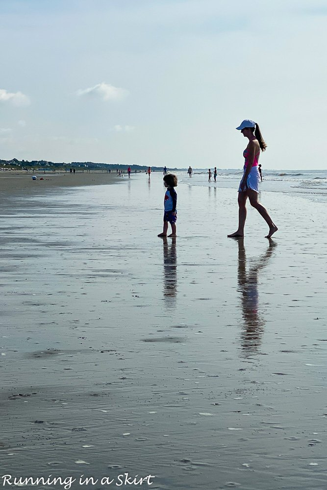 Mom on beach with toddler in Kiawah Island.