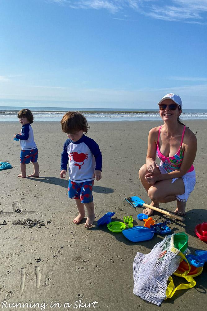 Mom with twins on beach Kiawah Island SC