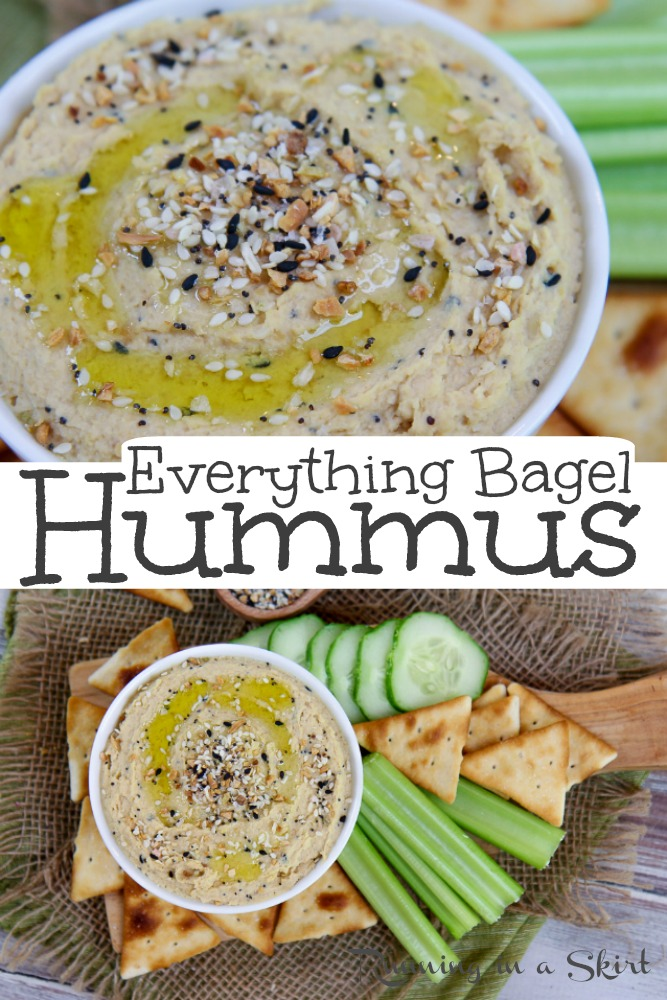 Homemade Everything Bagel Hummus recipe - The best Everything Hummus using Everything But the Bagel Seasoning Mix. An easy, simple ,vegan and HEALTHY hummus with creamy & smooth chickpeas and spices. Low calories and low oil. / Running in a Skirt #hummus #healthyliving #vegan #dairyfree #everythingbagel #traderjoes #everythingbutthebagel via @juliewunder