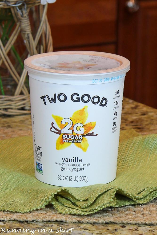 Process shot container of greek yogurt.