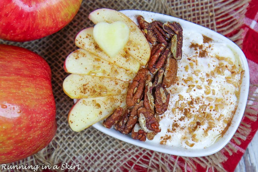 Overhead shot of Apple Pie Greek Yogurt bowl on a red napkin.