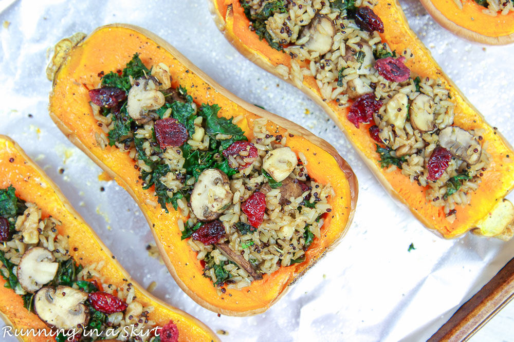 Vegan Stuffed Butternut Squash on a baking sheet ready to go in oven.