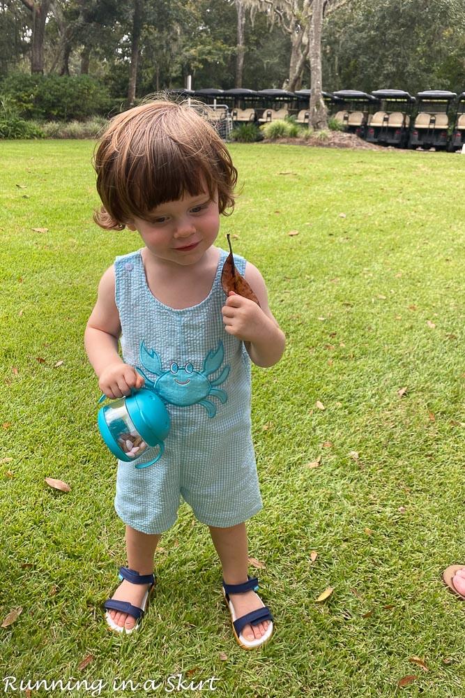 Toddler on grass.