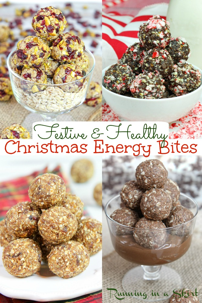 8 Christmas Energy Bites recipes- the BEST Clean Eating Christmas Desserts for a festive holiday season. These Healthy Holiday Snacks are great for kids or adults. Flavors like Gingerbread, Nutella Fudge, Superfood Bites and Peppermint Fudge Energy Bites. So many healthy ideas. Vegan, Vegetarian, Gluten Free / Running in a Skirt #cleaneating #healthy #snacks #christmas via @juliewunder