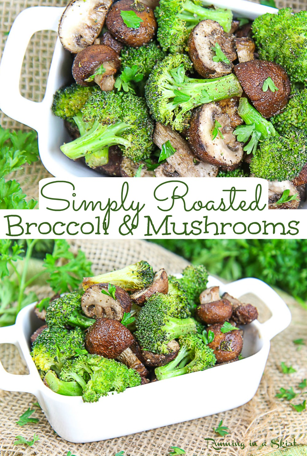 Oven Roasted Mushrooms and Broccoli recipe - Healthy Roasted Broccoli with Mushrooms with garlic - only FOUR INGREDIENTS! A simple roasted vegetable side dish that's healthy, clean eating, low carb, vegan, gluten free, and vegetarian. This healthy side dish is great for weeknights or even holidays. You will love this low carb side dish! / Running in a Skirt #lowcarb #vegetarian #vegan #healthyliving #sidedish #glutenfree #broccoli #mushrooms via @juliewunder
