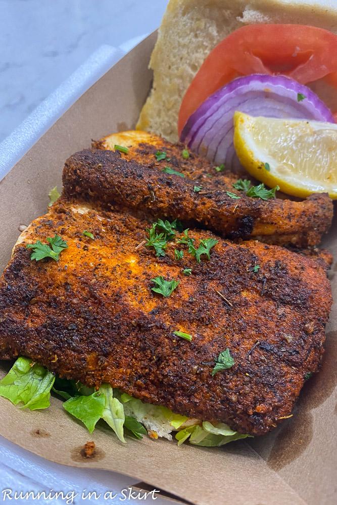 Timoti's Seafood Shack blackened fish sandwich