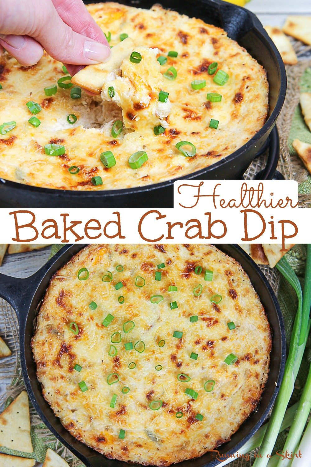 Hot Crab Dip recipe - The BEST with healthy swaps without sacrificing TASTE! Cheesy, easy, and delicious. This addictive recipe is baked with cream cheese and is filled with warm lump crab meat. Simple and EASY to make for appetizers. Pescatarian, Low Carb, Gluten Free / Running in a Skirt #superbowl #healthyliving #crabdip #pescatarian #recipe via @juliewunder