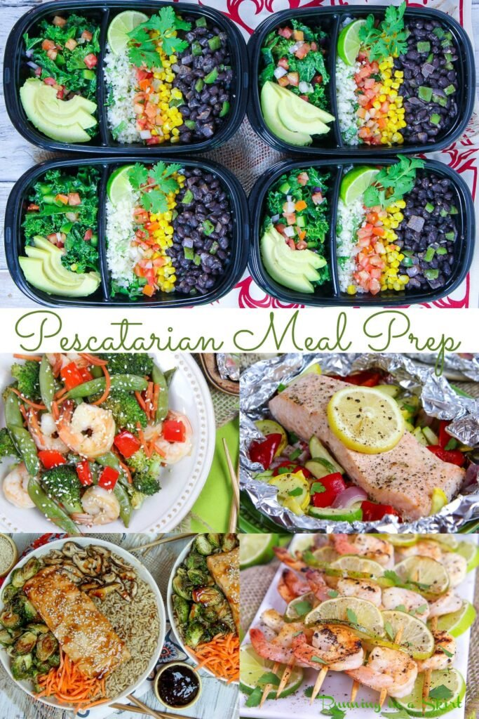 Pescatarian Meal Prep pinterest pin collage.