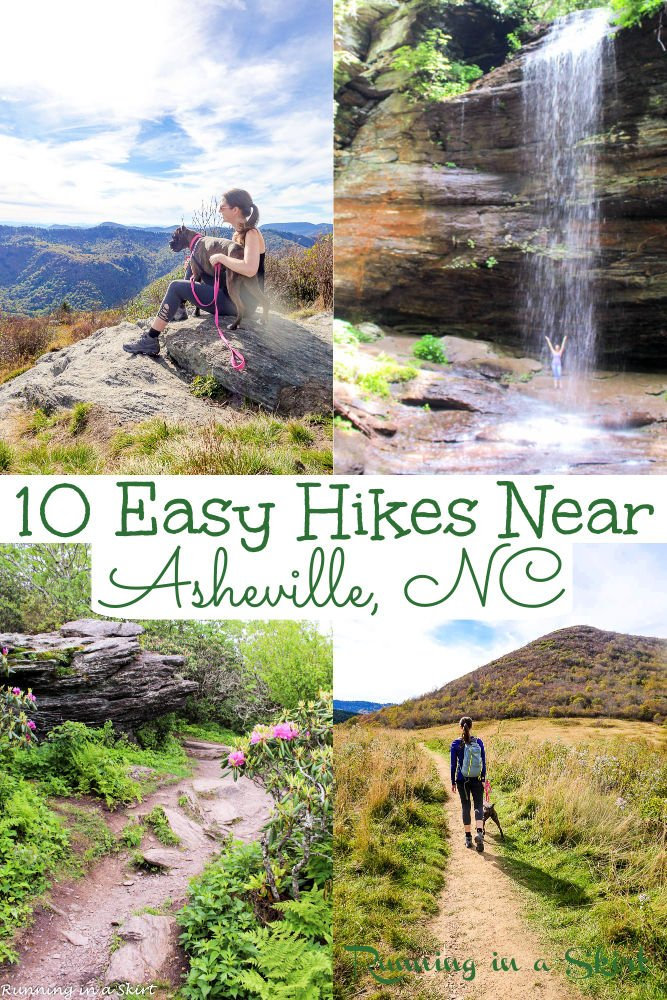 10 Best Hikes Near Asheville NC - Easy Hikes Near Asheville North Carolina with big payoff to waterfalls or gorgeous summit. All hiking trails can be done in a half day or less and most are 2 miles or less. Includes Blue Ridge Parkway hikes, Pisgah National Forest and DuPont State Forest. Lot's of Asheville hiking with kids options. This is one of the best things to do in Asheville! Options for summer, winter, spring and fall. / Running in a Skirt #asheville #nctravel #ustravel #hiking via @juliewunder