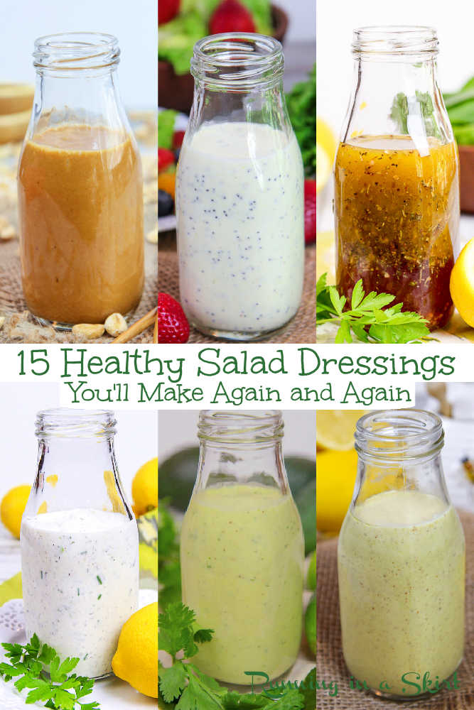 Healthy Homemade Salad Dressings pinterest pin collage