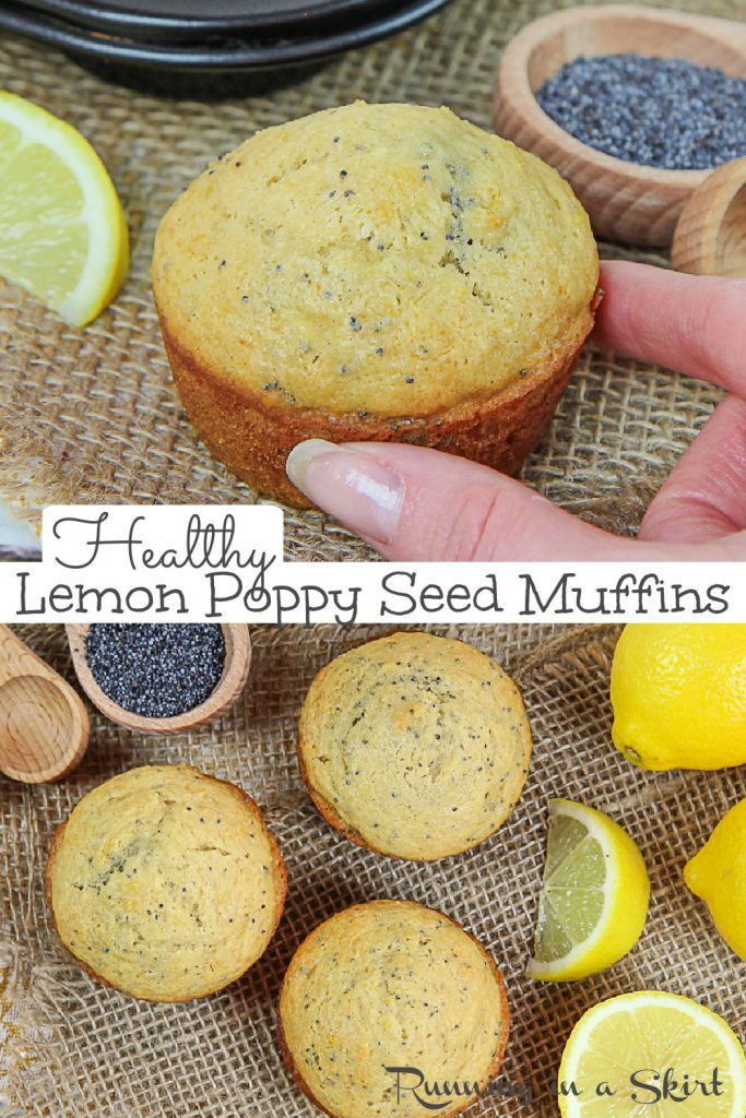 Pinterest collage of Healthy Lemon Poppy Seed Muffins