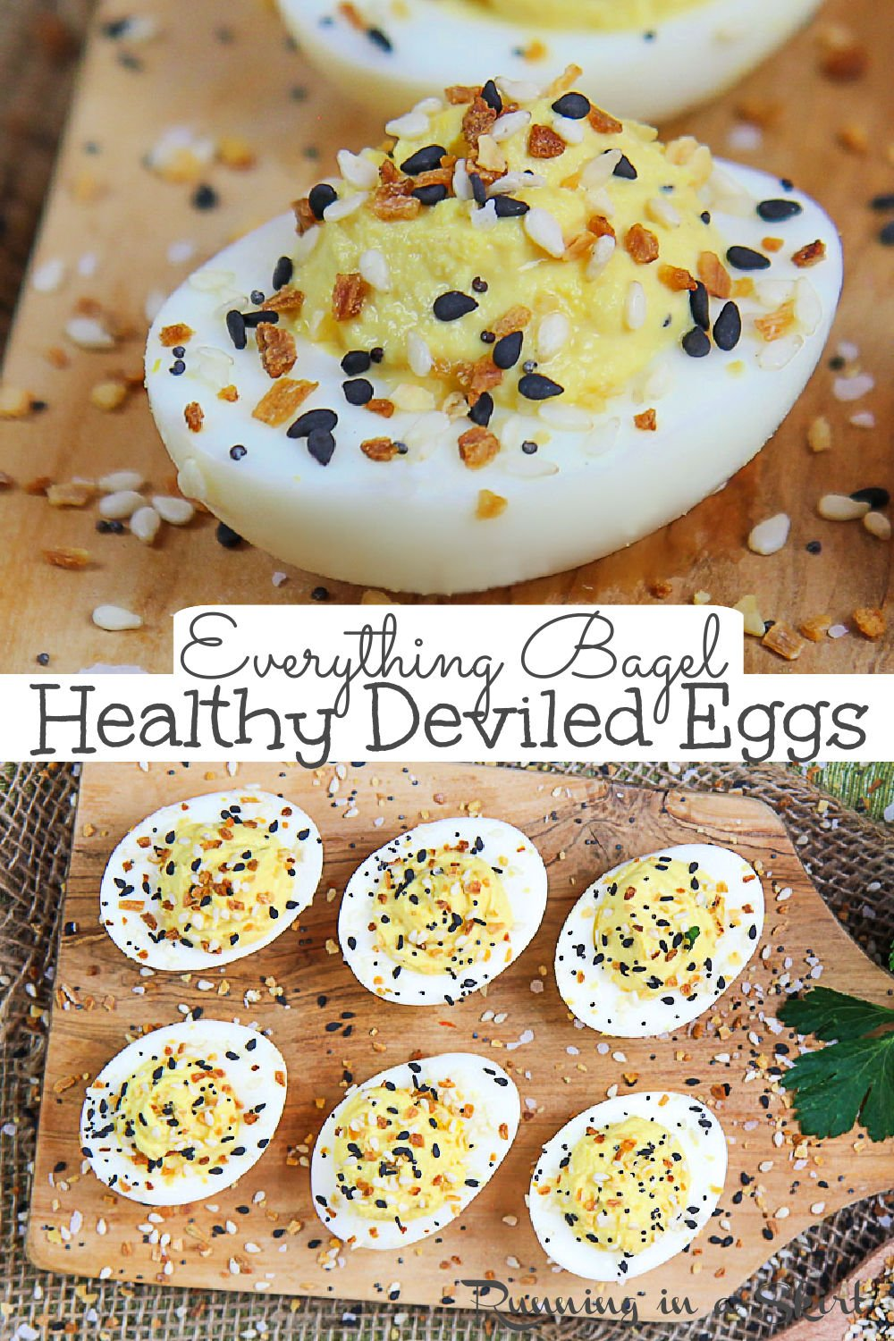 Everything Bagel Deviled Eggs with Everything Bagel Seasoning. A Healthy Deviled Egg recipe using greek yogurt and no mayo and only 6 ingredients. This super easy deviled eggs recipe is the best twist on the classic southern recipe. A simple side dish for Easter or summer cookouts. If you are looking for a fun use for Trader Joe's Everything But the Bagel Seasoning this is it! Clean Eating, Vegetarian, Healthy, Low Carb, Gluten Free /Running in a Skirt #easter #healthy #everythingbagelseasoning via @juliewunder