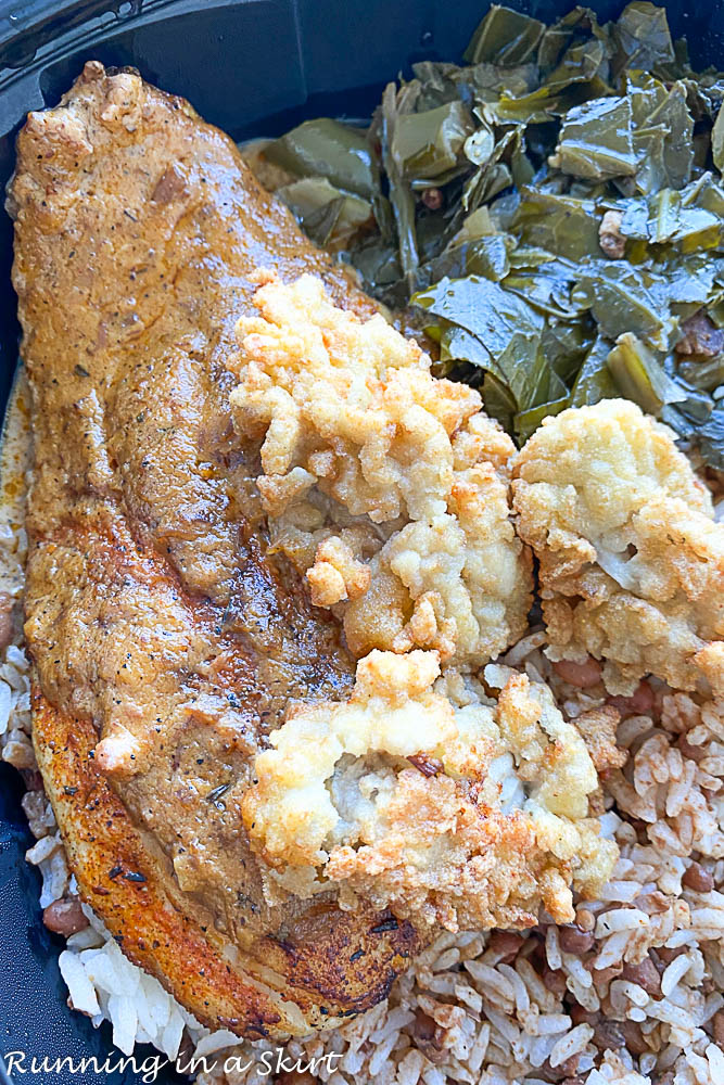 Blackened Redfish with Fried Oysters from Lagniappe