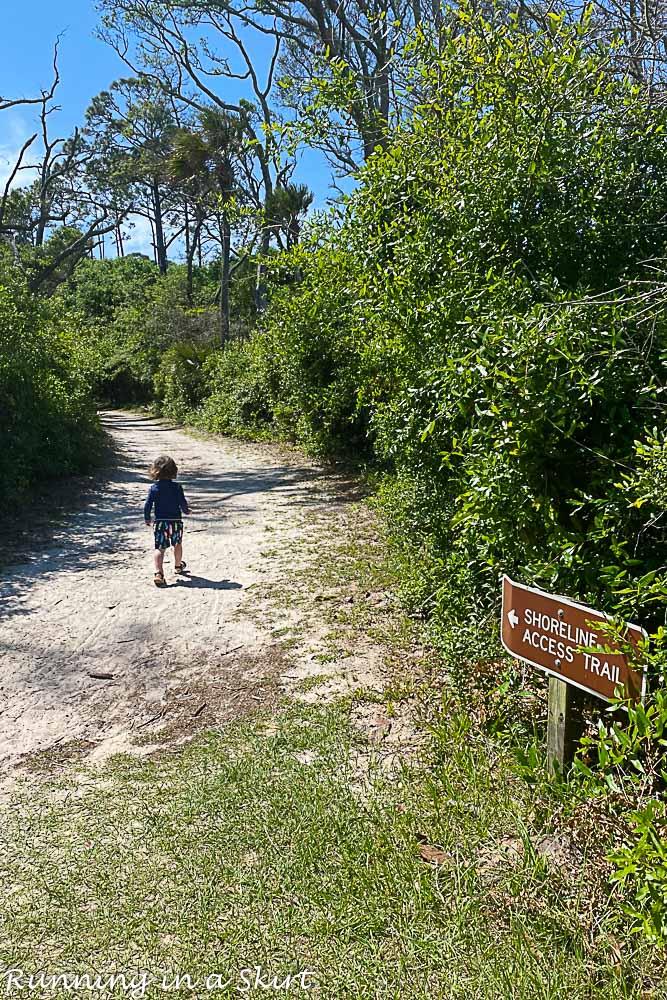 Shot of sign of how to get to Boneyard Beach Florida.