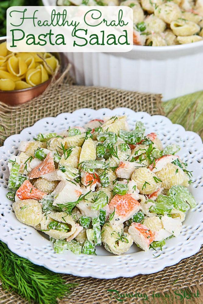 Healthy Crab Pasta Salad pinterest pin.