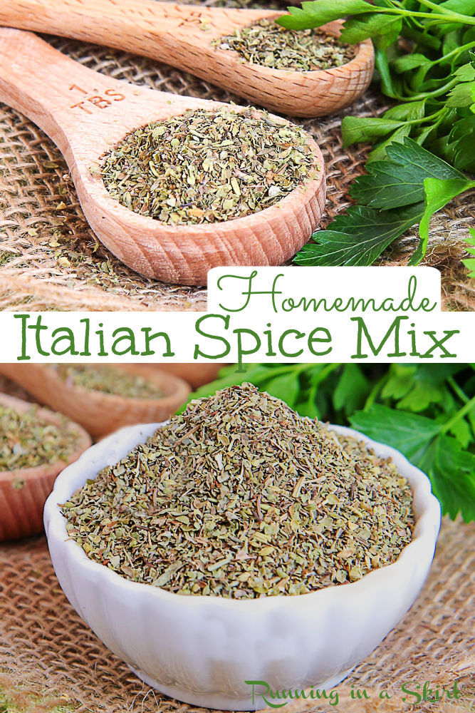 Italian Spice Mix Recipe - The Best Italian Seasoning DIY Spice Mixes with the herb mix basil, oregano, thyme, marjoram, rosemary and sage. Looking for homemade seasoning mixes? This Italian Herb Blend Seasoning mix is perfect for pasta, soup, roasted vegetables and any Italian, Greek or Mediterranean 3 recipe. Made in 10 minutes with pantry staples and healthy with no added salt! Vegan, Vegetarian, Gluten Free, Keto / Running in a Skirt #italianspicemix #diy #diyseasoning #healthy via @juliewunder