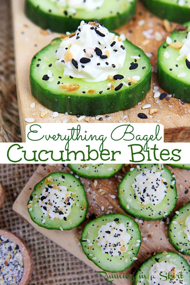Everything Bagel Cucumber Bites recipe - The Best Cucumber with Everything Bagel Seasoning. The perfect healthy cucumber snack with cream cheese, greek yogurt and Everything But the Bagel Seasoning. Healthy, vegetarian, low carb, low cal, gluten free and keto snack. Also great for simple and easy appetizers or finger food. / Running in a Skirt #glutenfree #keto #healthy #lowcarb #lowcal #appetizer #snack via @juliewunder