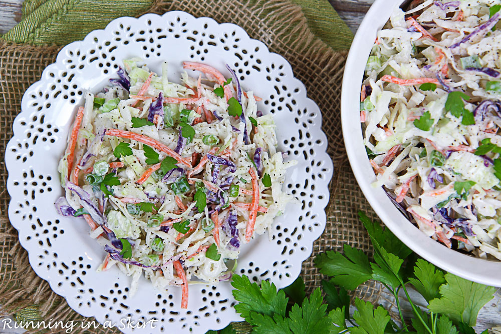 Overhead shot of the healthy coleslaw in a serving bowl.