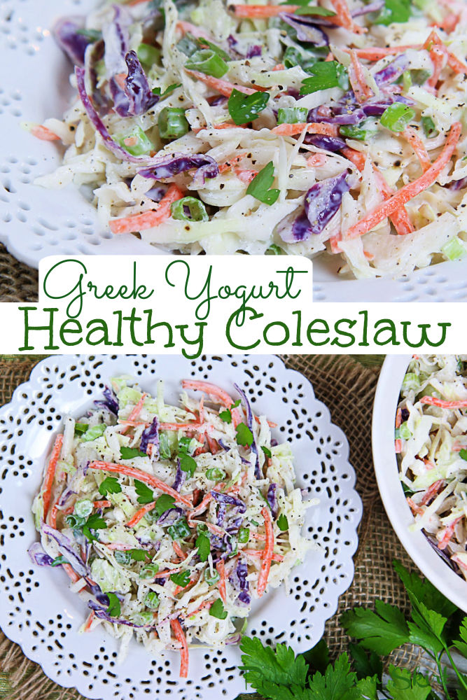 Healthy Coleslaw Recipe with Greek Yogurt and no mayo! The Best Healthy Cole Slaw Dressing that's a creamy. Homemade and Southern style but with honey instead of sugar and greek yogurt instead of mayonnaise. Easy, simple, clean eating and the perfect healthy cookout side dish. Veggie packed with bagged coleslaw, carrots, green onion and parsley plus apple cider vinegar. Vegetarian, Gluten Free, Low Carb / Running in a Skirt #healthysidedish #coleslaw #healthyrecipe #vegetarian #greekyogurt via @juliewunder